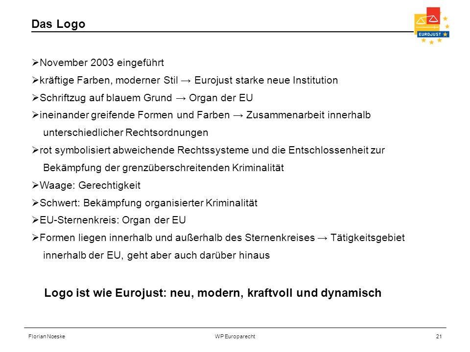 Logo ist wie Eurojust: neu, modern, kraftvoll und dynamisch