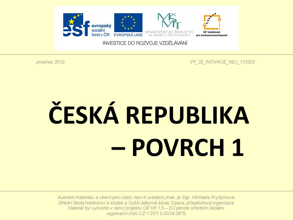 ČESKÁ REPUBLIKA – POVRCH 1