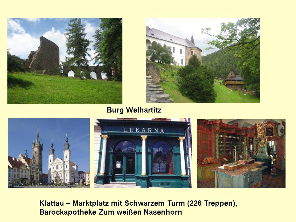 Burg Welhartitz Klattau – Marktplatz mit Schwarzem Turm (226 Treppen), Barockapotheke Zum weißen Nasenhorn.