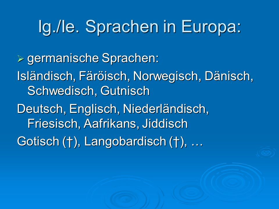 Ig./Ie. Sprachen in Europa: