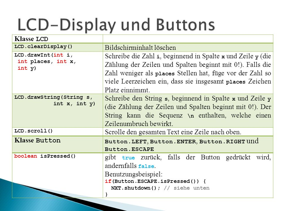 LCD-Display und Buttons