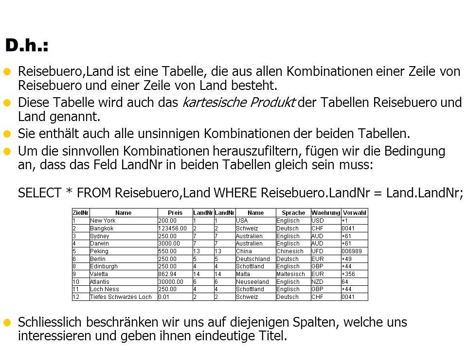 D.h.: Reisebuero,Land ist eine Tabelle, die aus allen Kombinationen einer Zeile von Reisebuero und einer Zeile von Land besteht.