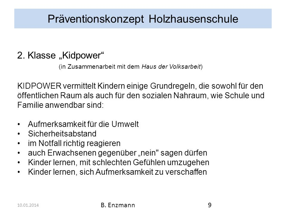 Präventionskonzept Holzhausenschule