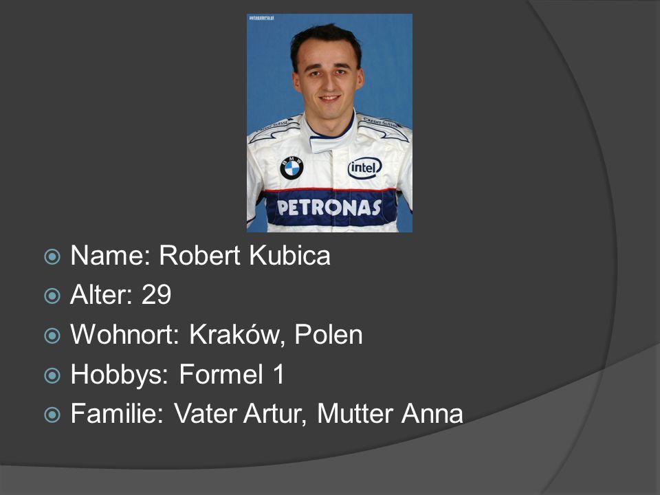 Name: Robert Kubica Alter: 29. Wohnort: Kraków, Polen.