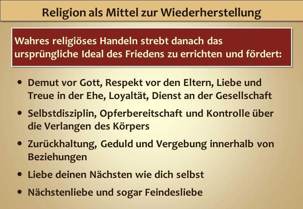 Religion als Mittel zur Wiederherstellung