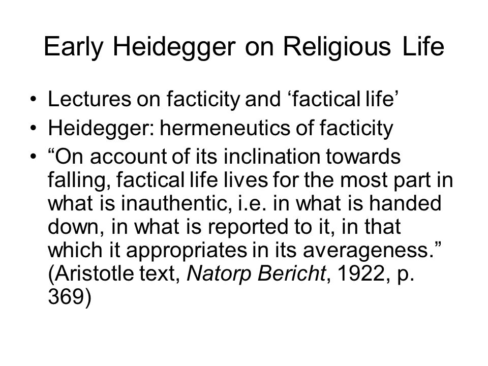 Early Heidegger on Religious Life