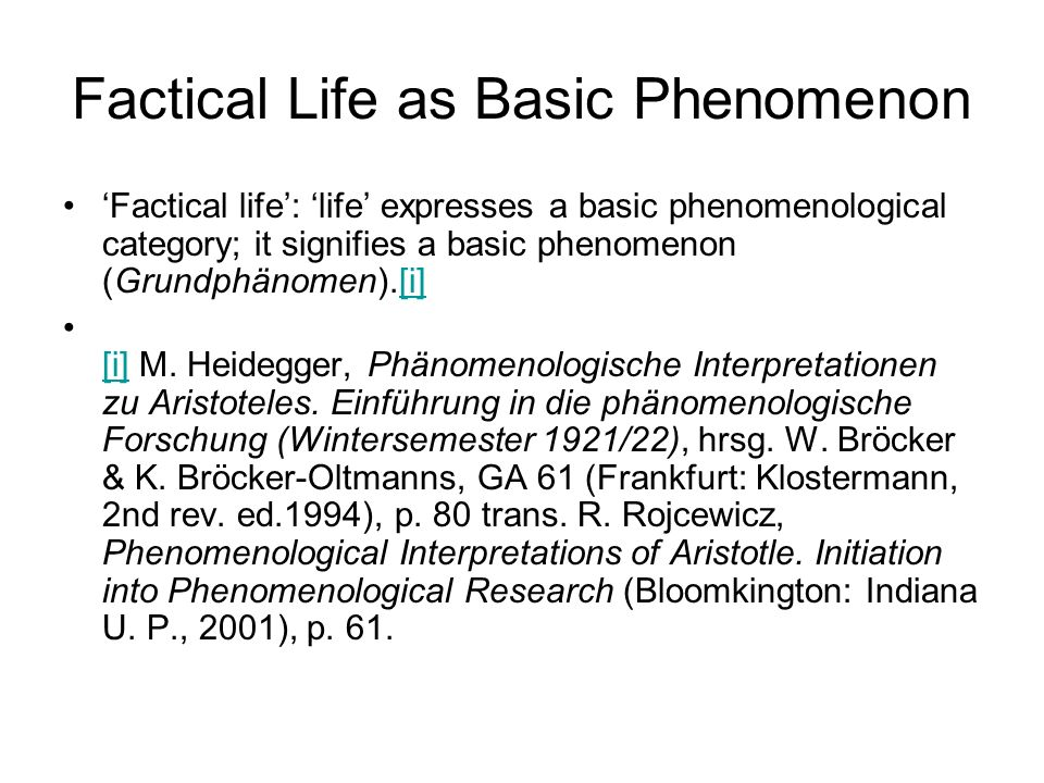 Factical Life as Basic Phenomenon