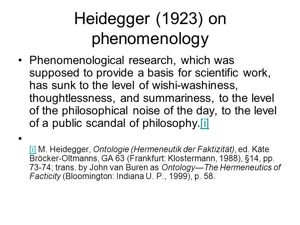 Heidegger (1923) on phenomenology