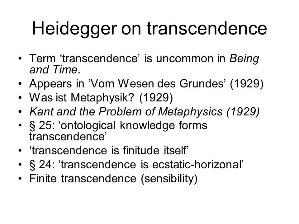 Heidegger on transcendence
