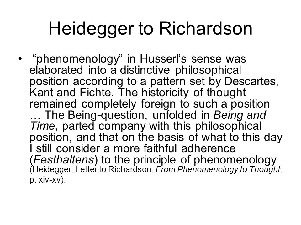Heidegger to Richardson