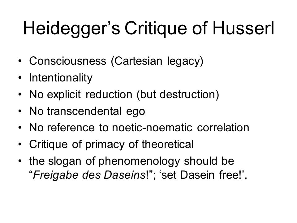 Heidegger's Critique of Husserl