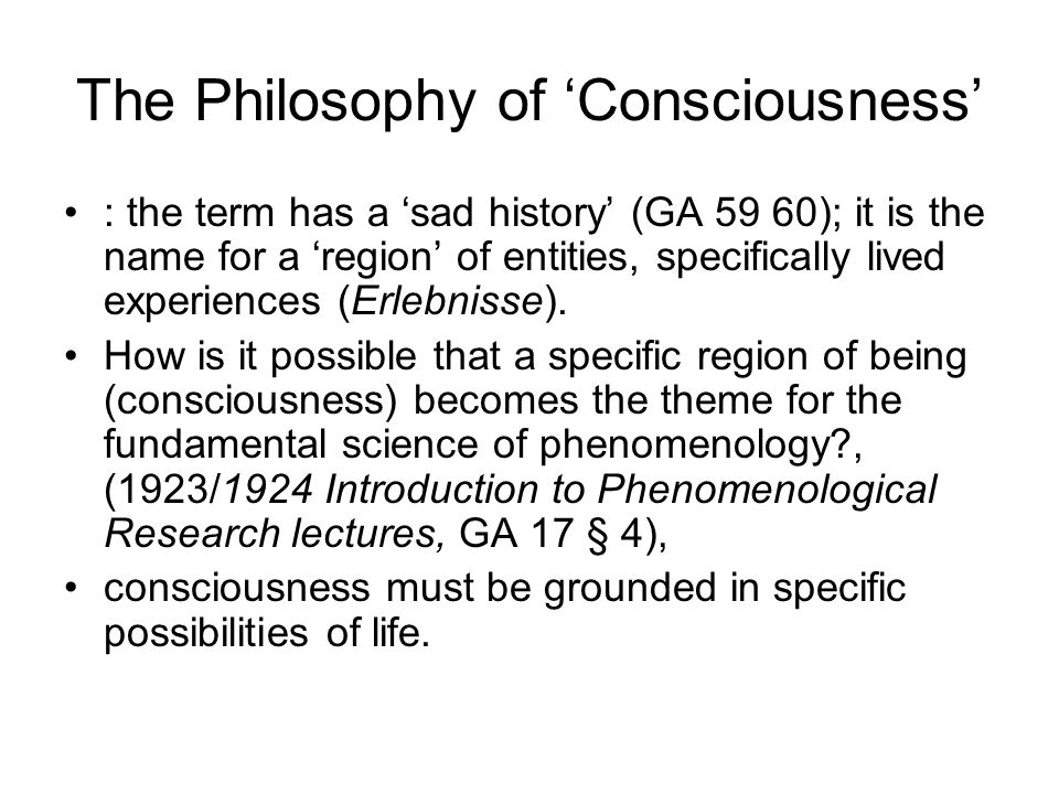 The Philosophy of 'Consciousness'