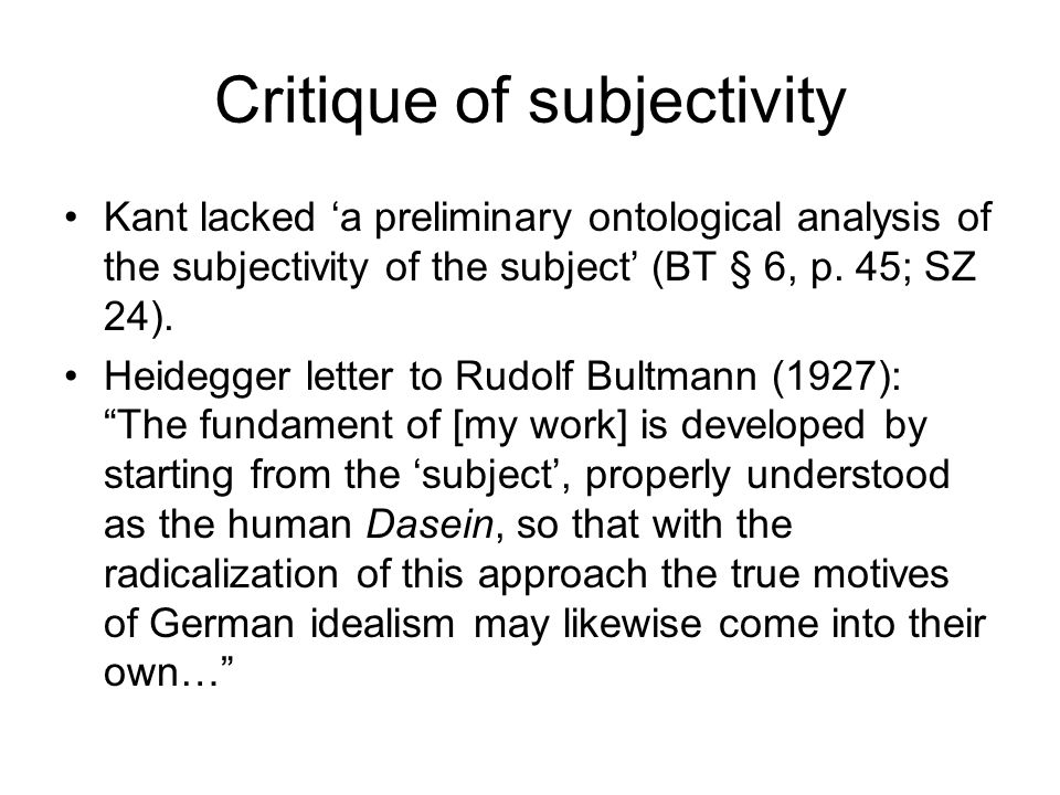 Critique of subjectivity