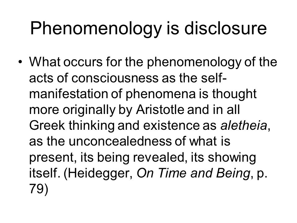 Phenomenology is disclosure