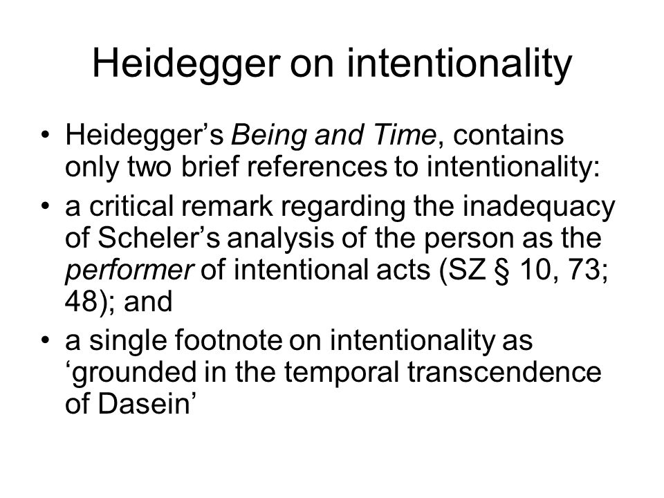 Heidegger on intentionality