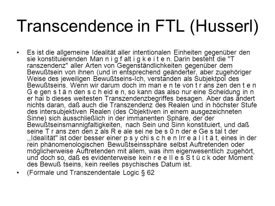 Transcendence in FTL (Husserl)