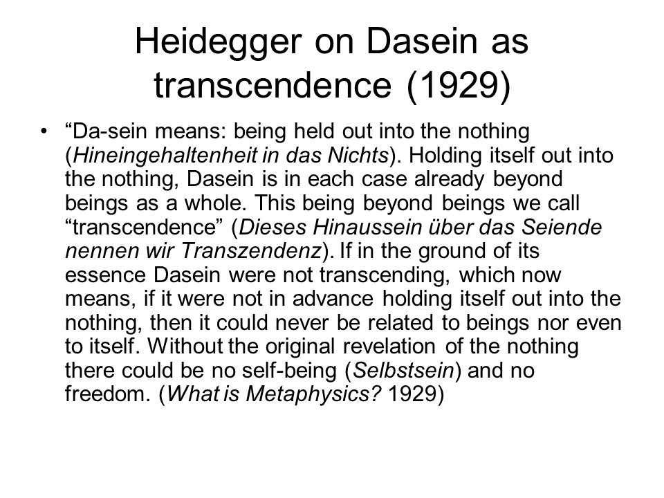 Heidegger on Dasein as transcendence (1929)