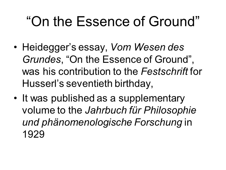 On the Essence of Ground