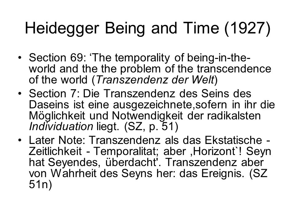 Heidegger Being and Time (1927)