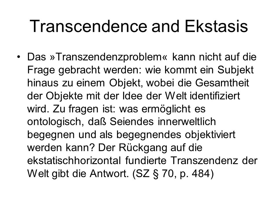 Transcendence and Ekstasis