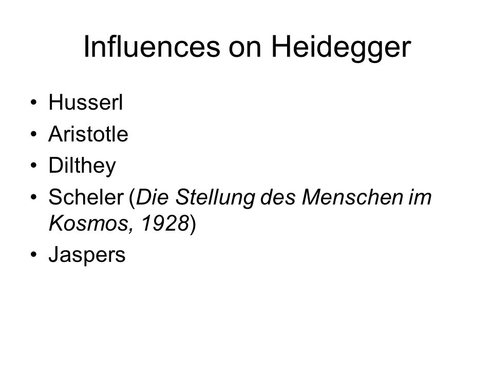 Influences on Heidegger