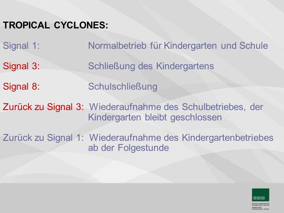 TROPICAL CYCLONES: Signal 1: Normalbetrieb für Kindergarten und Schule. Signal 3: Schließung des Kindergartens.
