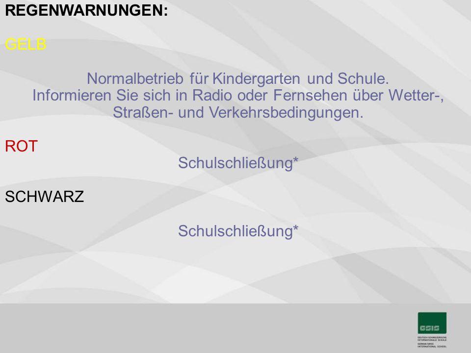 Normalbetrieb für Kindergarten und Schule.