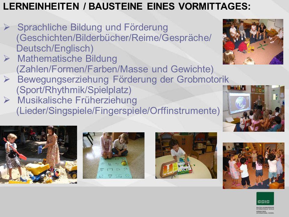 LERNEINHEITEN / BAUSTEINE EINES VORMITTAGES: