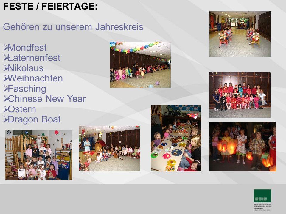 FESTE / FEIERTAGE: Gehören zu unserem Jahreskreis. Mondfest. Laternenfest. Nikolaus. Weihnachten.