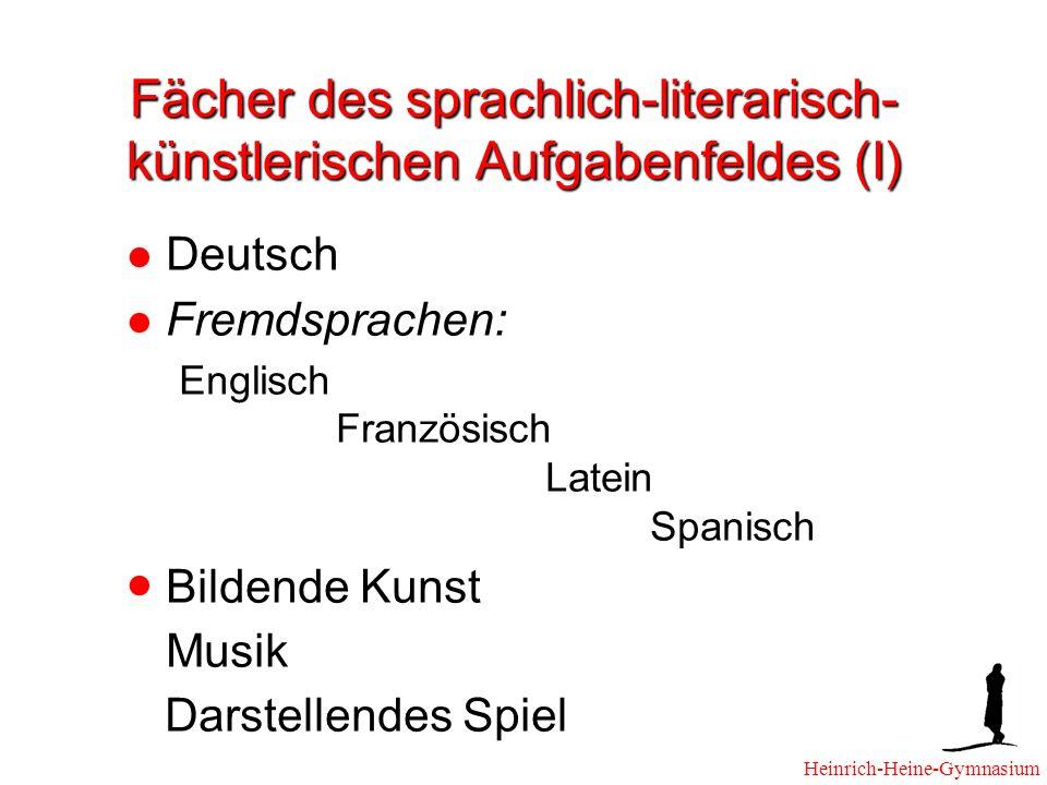 Fächer des sprachlich-literarisch- künstlerischen Aufgabenfeldes (I)