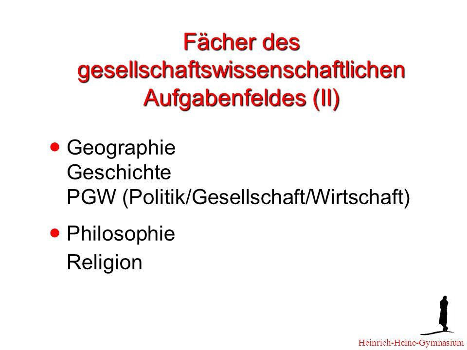 Fächer des gesellschaftswissenschaftlichen Aufgabenfeldes (II)