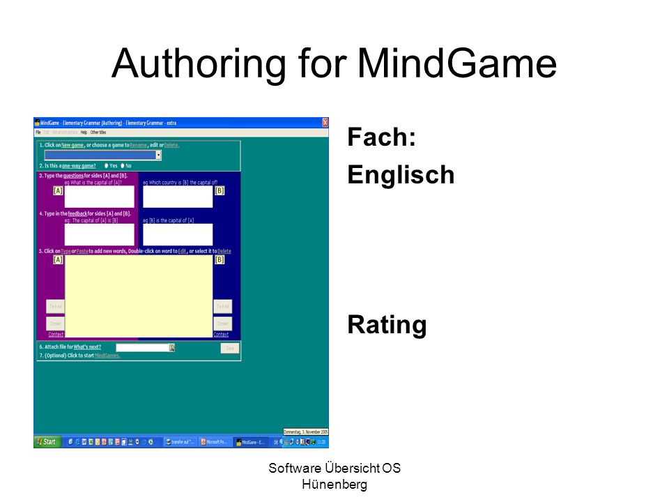 Authoring for MindGame