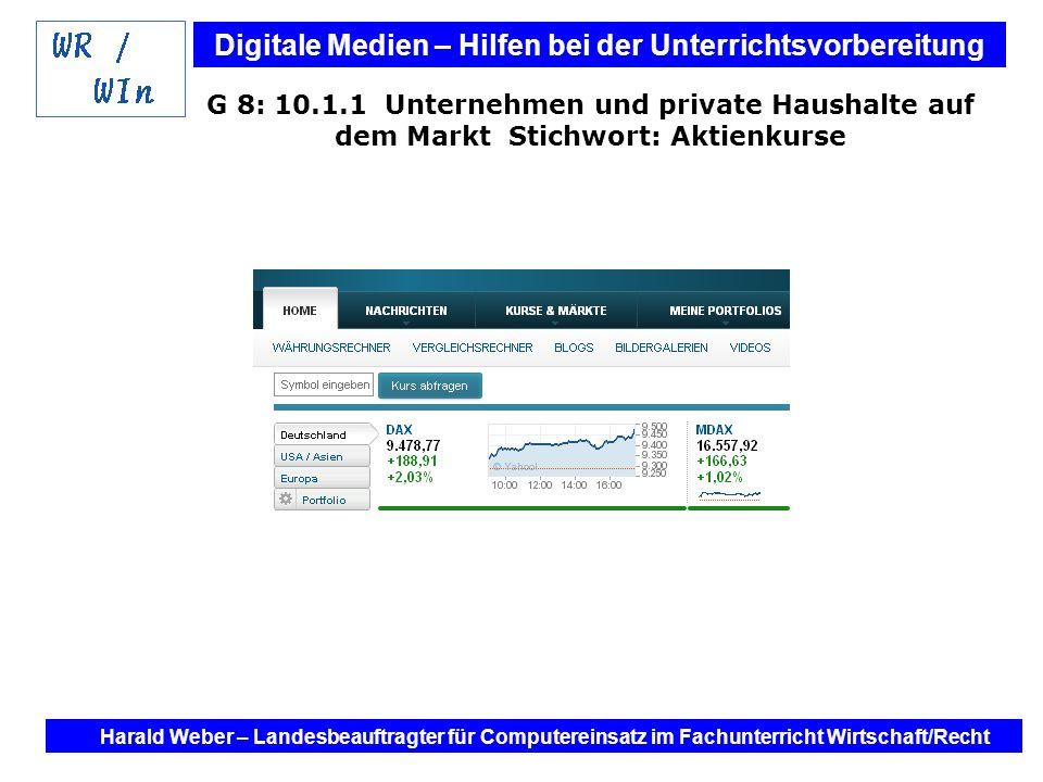 G 8: 10.1.1 Unternehmen und private Haushalte auf dem Markt Stichwort: Aktienkurse