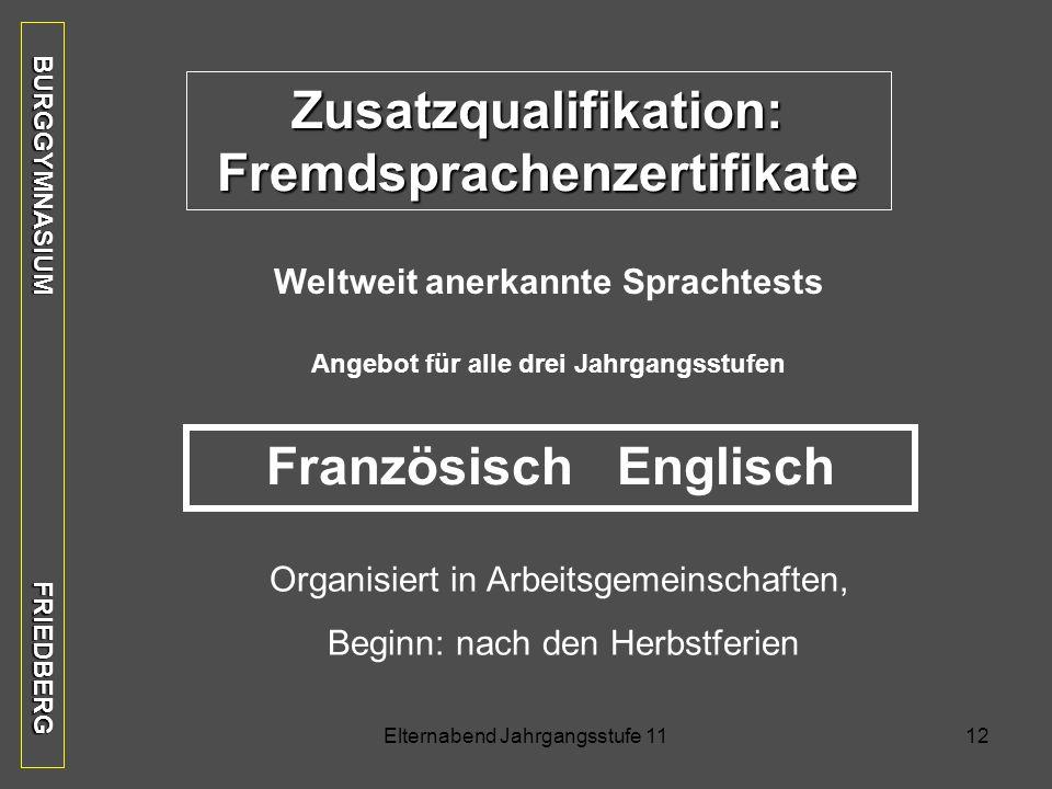 Zusatzqualifikation: Fremdsprachenzertifikate Französisch Englisch