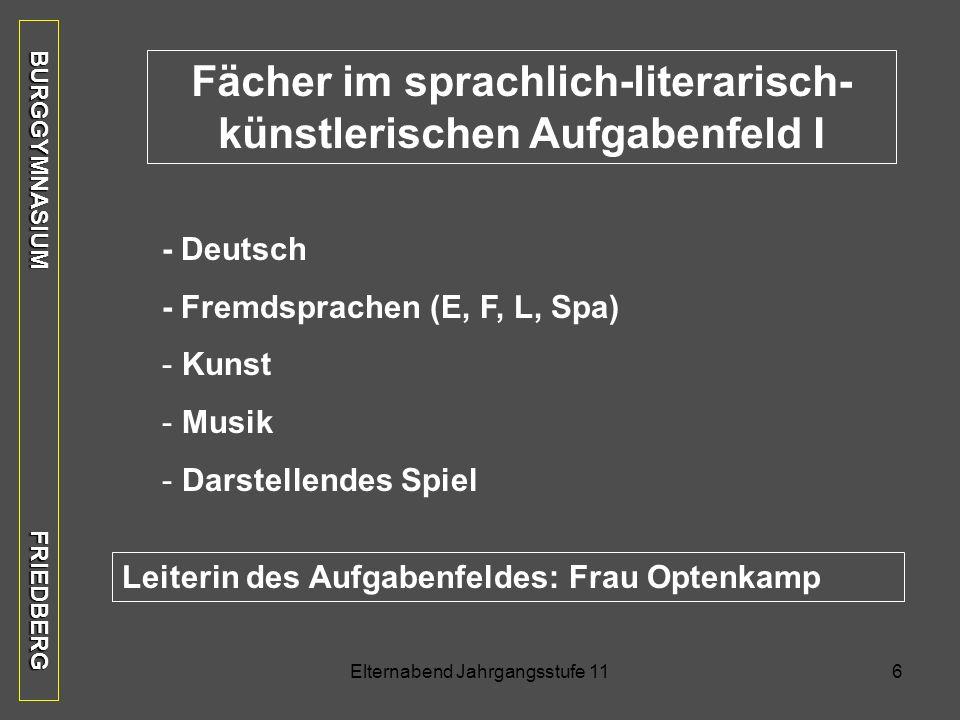 Fächer im sprachlich-literarisch- künstlerischen Aufgabenfeld I