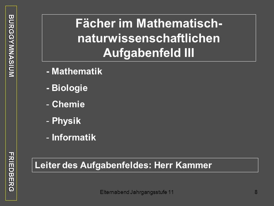 Fächer im Mathematisch-naturwissenschaftlichen Aufgabenfeld III