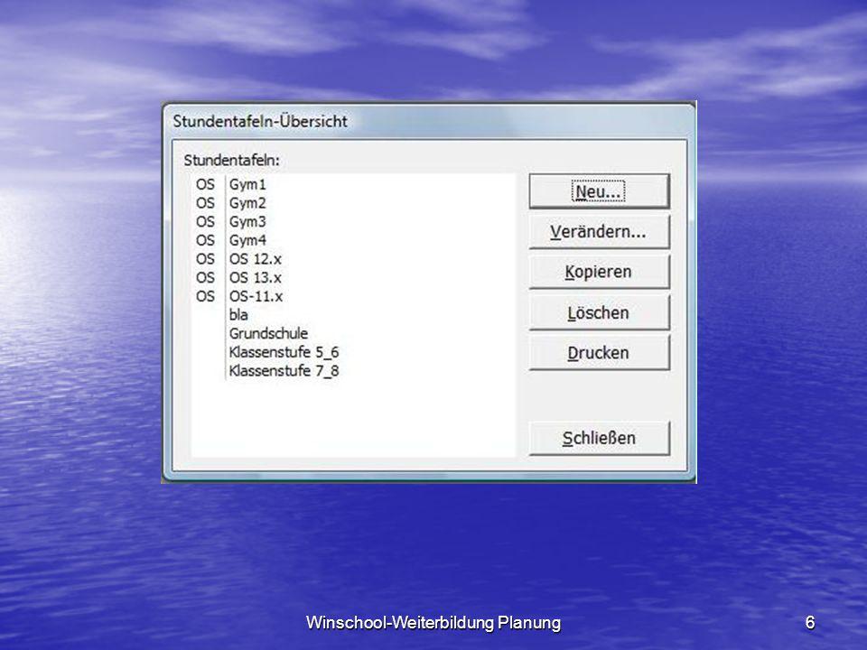 Winschool-Weiterbildung Planung