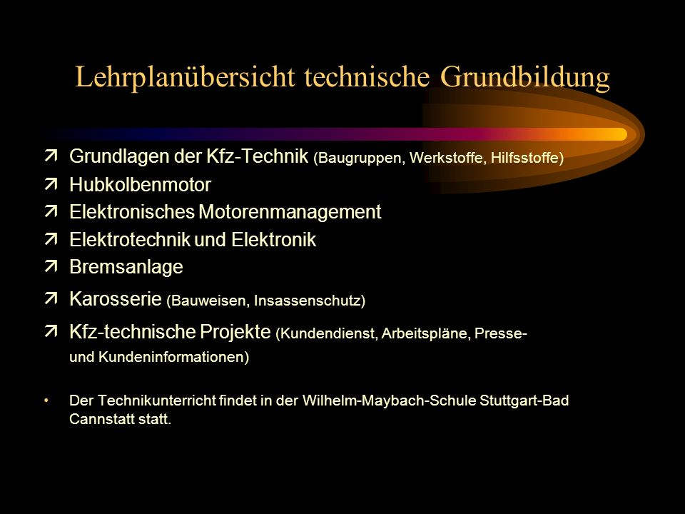 Lehrplanübersicht technische Grundbildung
