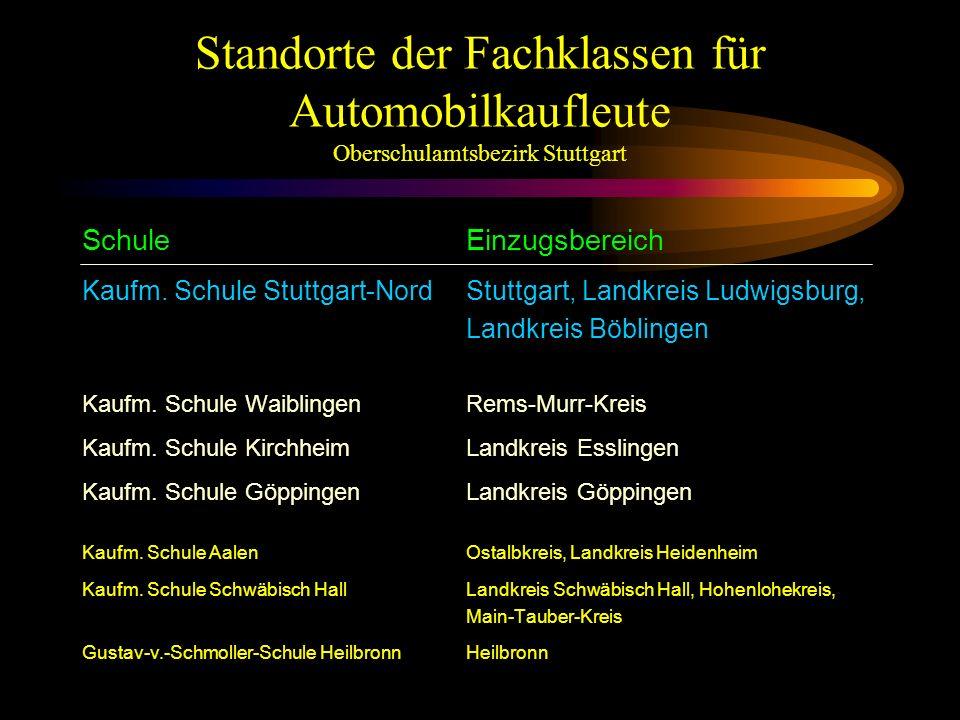Standorte der Fachklassen für Automobilkaufleute Oberschulamtsbezirk Stuttgart