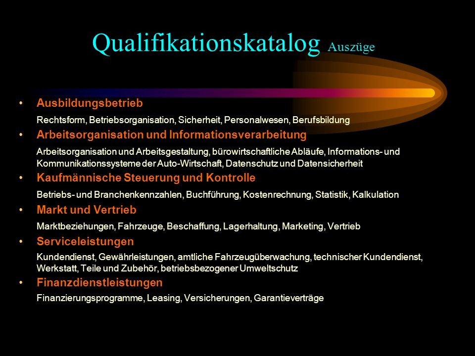 Qualifikationskatalog Auszüge