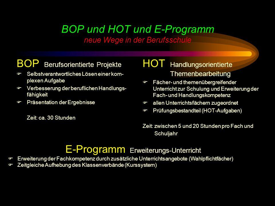 BOP und HOT und E-Programm neue Wege in der Berufsschule