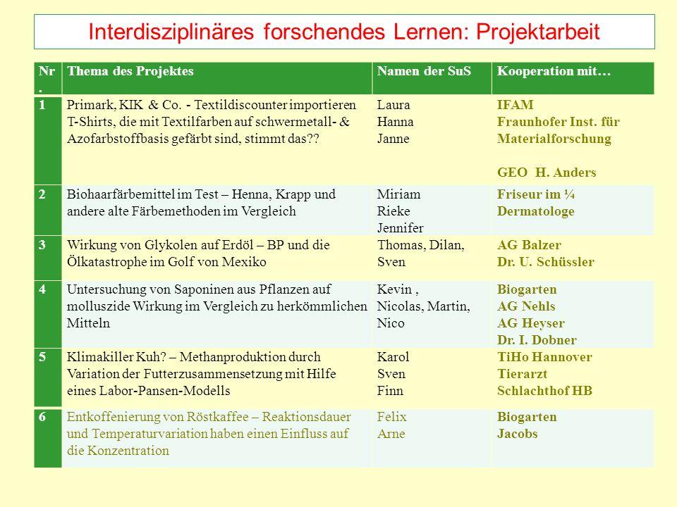 Interdisziplinäres forschendes Lernen: Projektarbeit