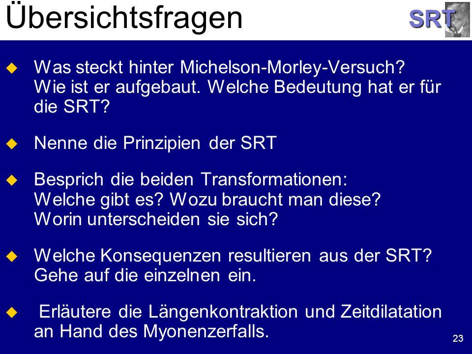 Übersichtsfragen Was steckt hinter Michelson-Morley-Versuch Wie ist er aufgebaut. Welche Bedeutung hat er für die SRT
