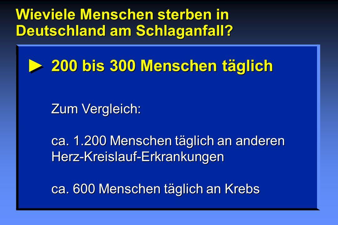 Wieviele Menschen sterben in Deutschland am Schlaganfall