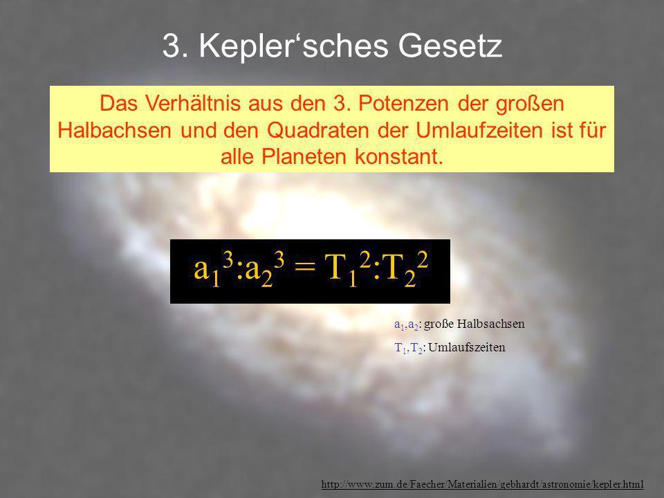 a13:a23 = T12:T22 3. Kepler'sches Gesetz