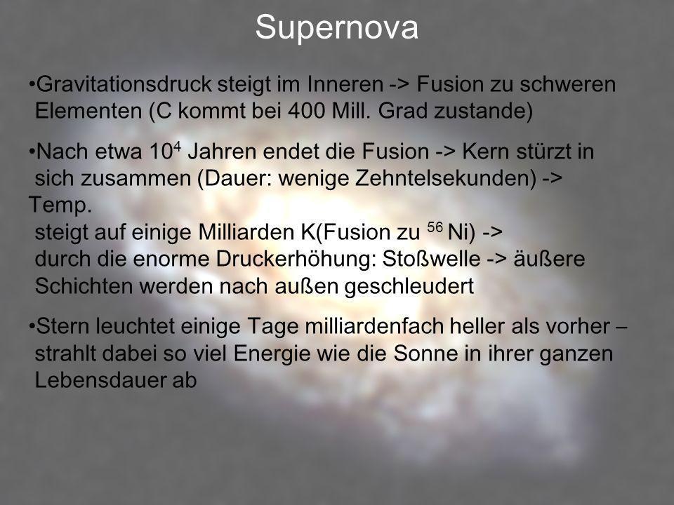 Supernova Gravitationsdruck steigt im Inneren -> Fusion zu schweren Elementen (C kommt bei 400 Mill. Grad zustande)