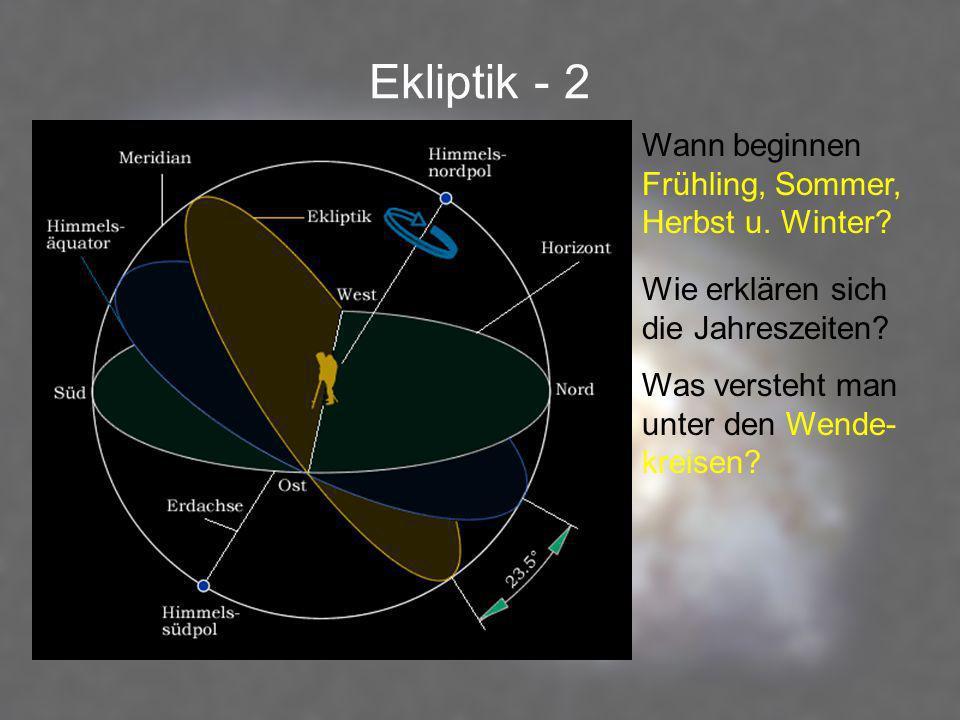 Ekliptik - 2 Wann beginnen Frühling, Sommer, Herbst u. Winter