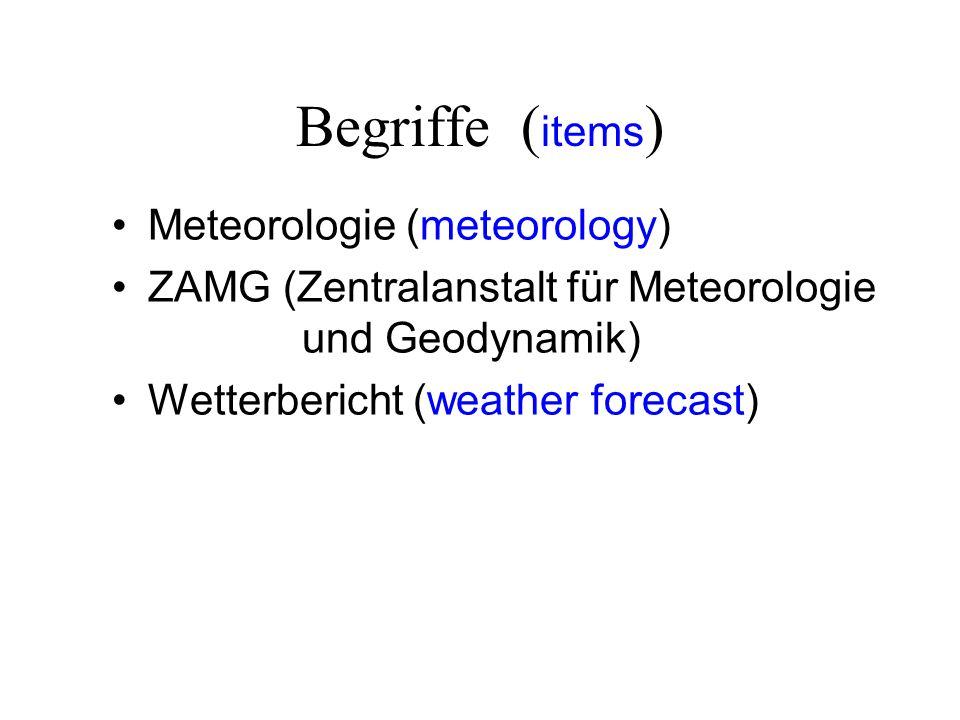 Begriffe (items) Meteorologie (meteorology)