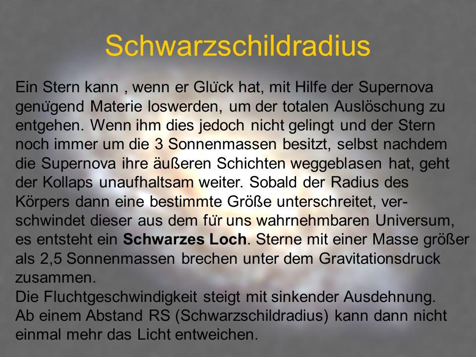 Schwarzschildradius Ein Stern kann , wenn er Glück hat, mit Hilfe der Supernova. genügend Materie loswerden, um der totalen Auslöschung zu.