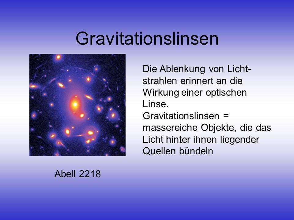 Gravitationslinsen Die Ablenkung von Licht-strahlen erinnert an die Wirkung einer optischen Linse.